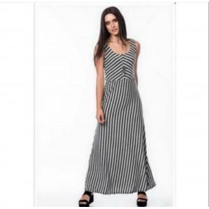 Gri siyah çizgili uzun elbise