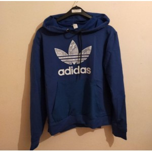 Adidas kapşonlu mavi sweatshirt