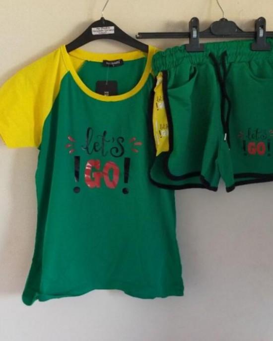 Yeşil renk şortlu takım