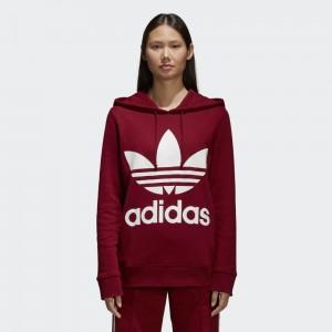 Bordo renk kapşonlu adidas sweatshirt