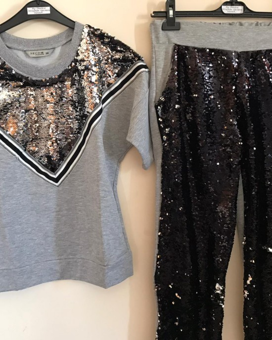 Gray V-sequined tracksuit