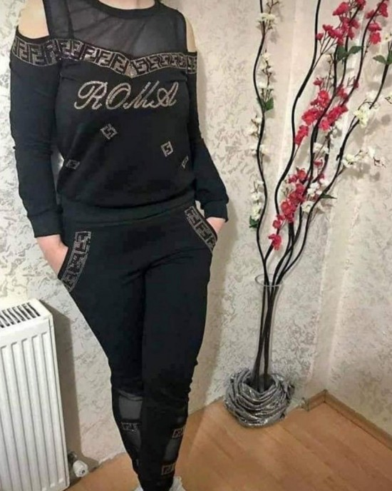 Tulle and gold embroidered Tracksuit set