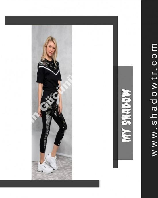 Black track suit with V sequins