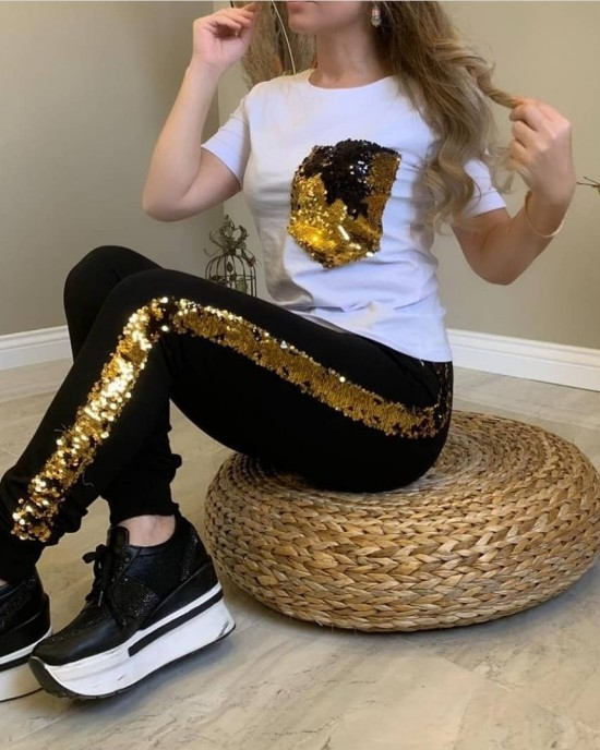 Pocket and side sequin track suit