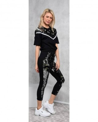 Black track suit with V sequins