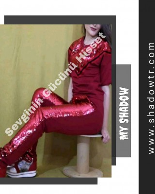 Red V-sequined tracksuit