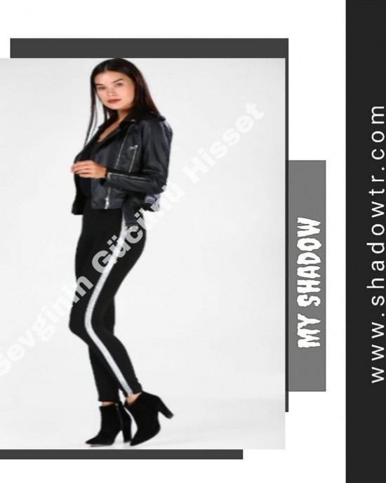 Black leggings with gray stripes on the sides