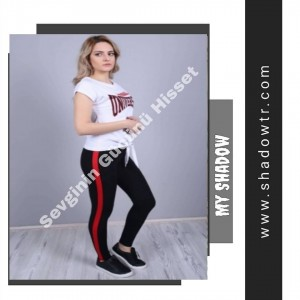 Black leggings with red stripes on the sides