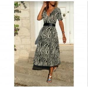 Zebra desenli uzun elbise