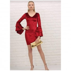 Kadife kumaş mini elbise