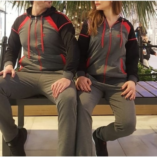 Adidas gray red black tracksuit set