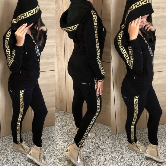 Hooded versace tracksuit set