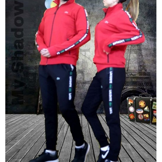 lecoste red tracksuit team