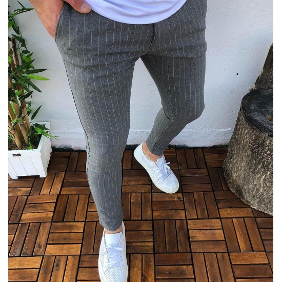 Striped slim-fit trousers