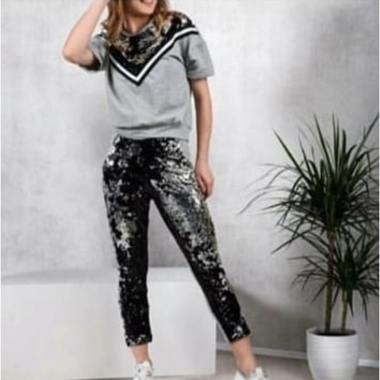 Gray sequined sweat suit