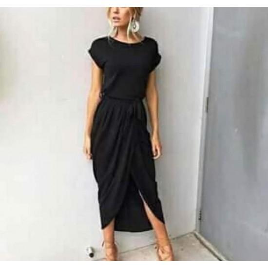 Black front slit dress