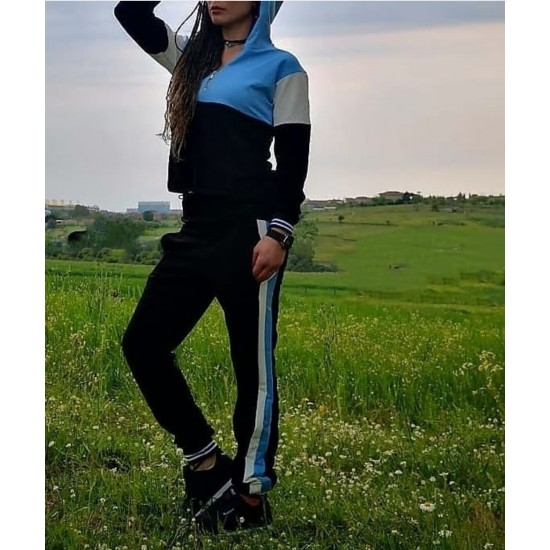 Blue hooded track suit