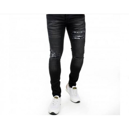 Slim-fit ripped jeans with black lycra