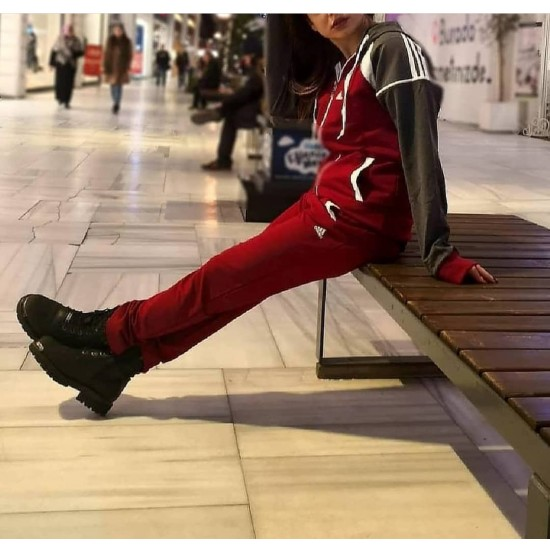 Adidas sweat suit red white